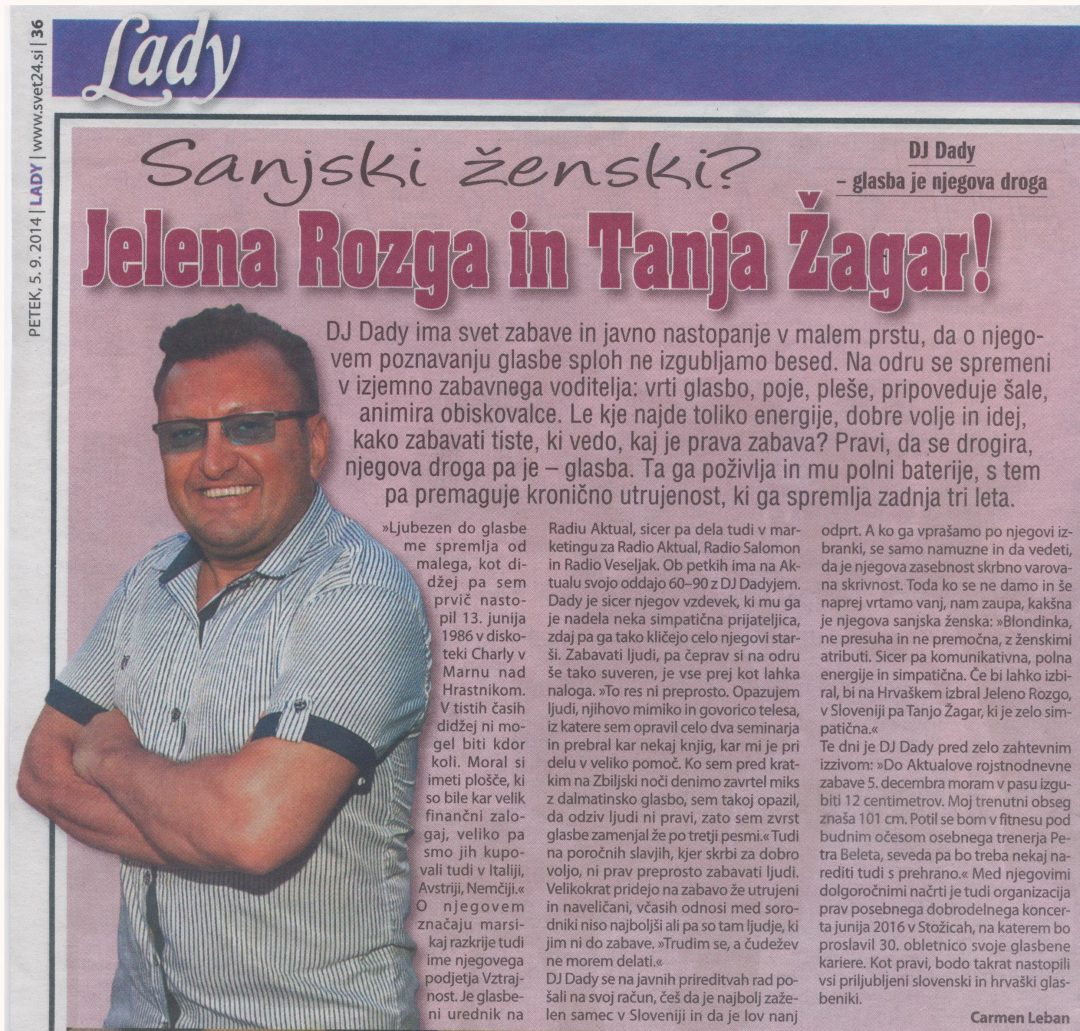 DJ Dady – Intervju revija Lady 2014