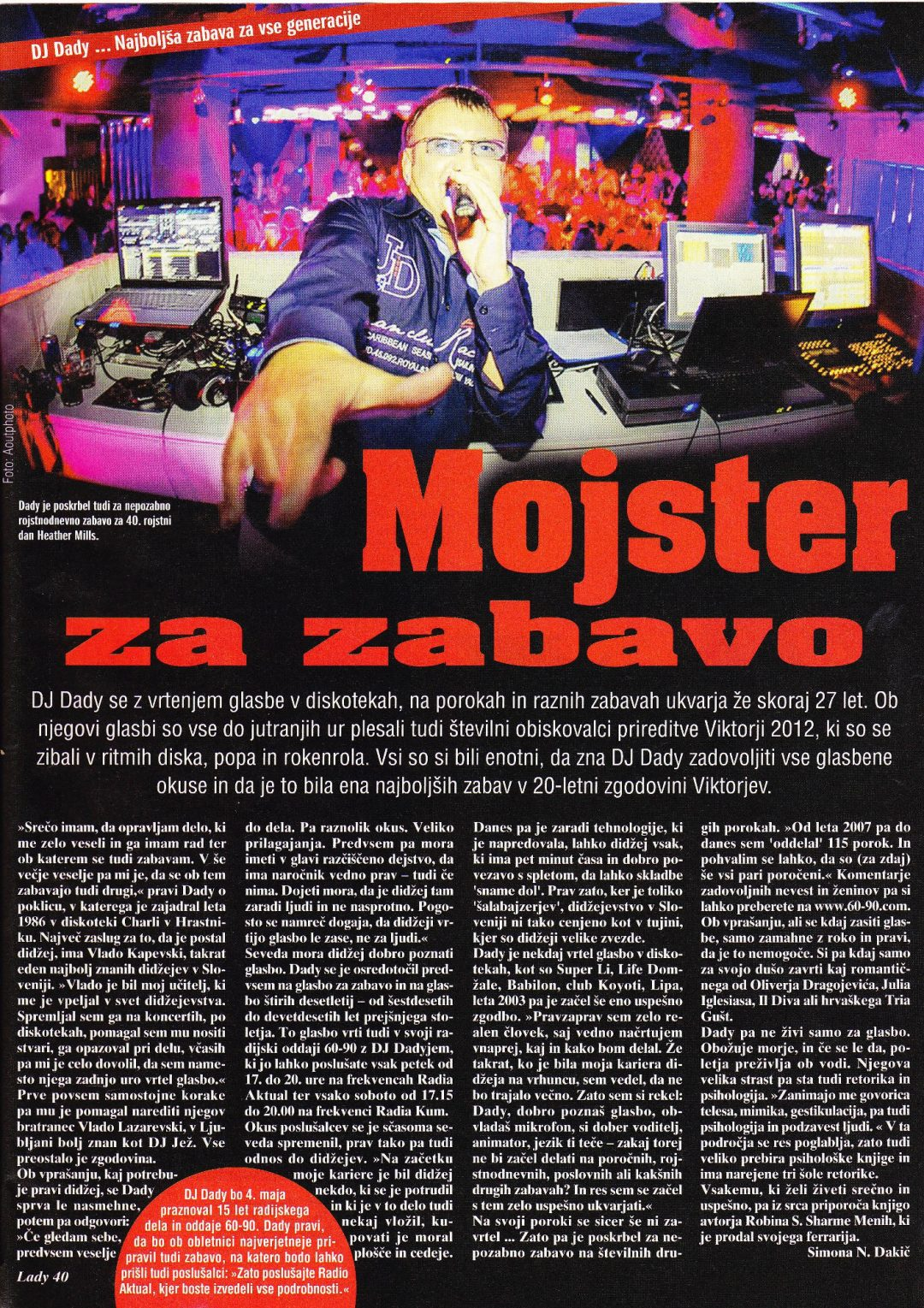DJ Dady – mojster za zabavo (revija Lady)